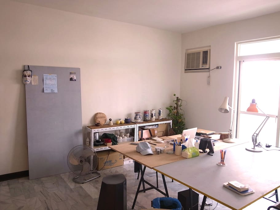 The co-working/studio space. You are welcome to share the big table :)