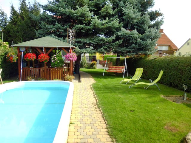 Holiday house Görbe, with relaxing pool area