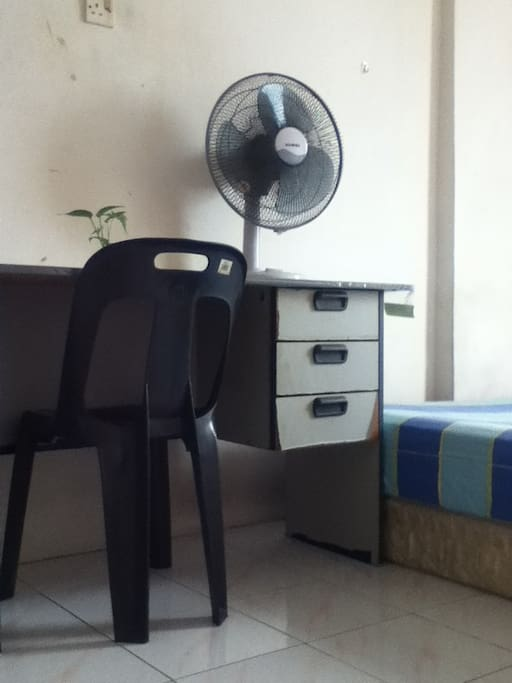 Working table and table fan.