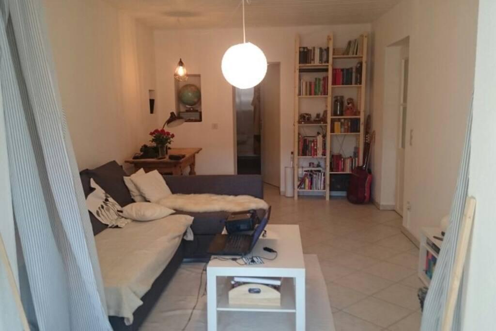 living room, bedroom behind