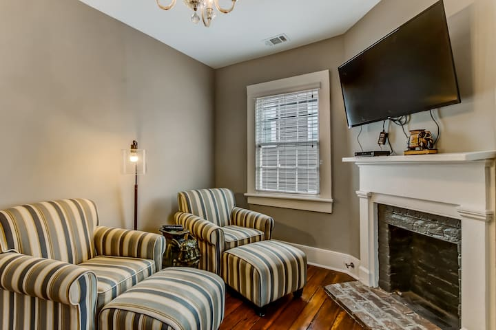 Open the pocket doors upstairs into your own parlor and mini-living room.