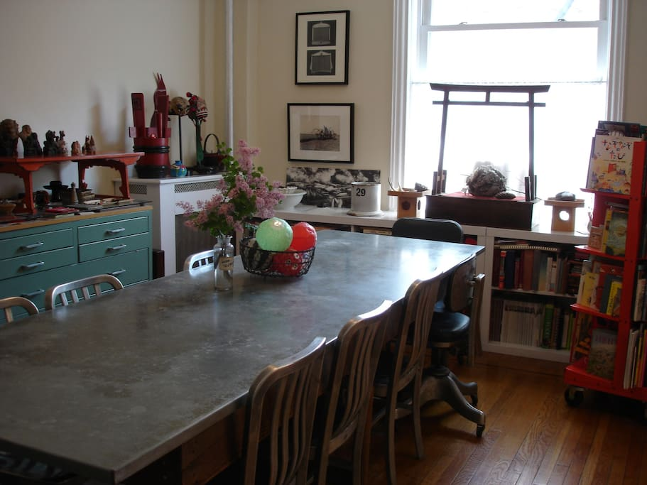 """dining room with 10"""" farm table"""