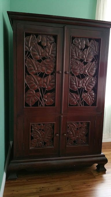 Mahogany armoire beautifully hand crafted in Bali.