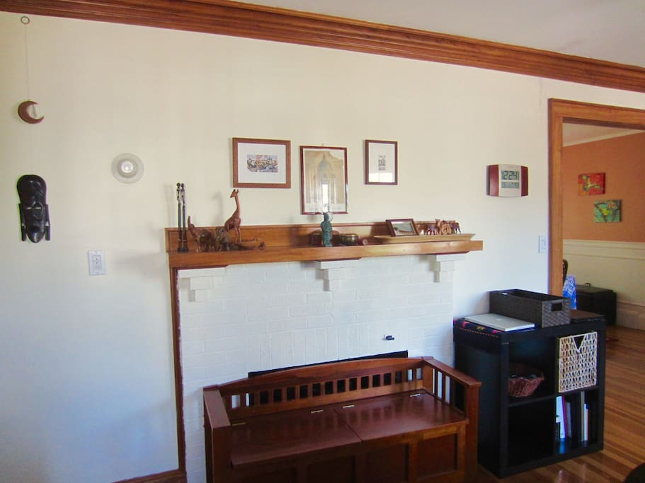 Mantle, storage bench and charging station