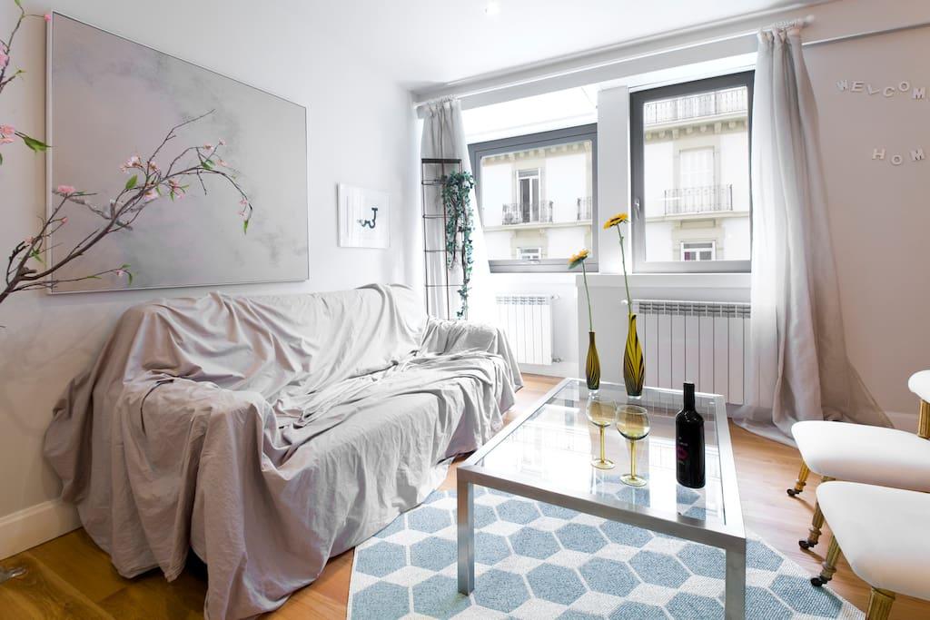 Living room: Sofa-doble bed with a nice contemporanean painting of the spanish artist Jose Ignacio Agorreta.