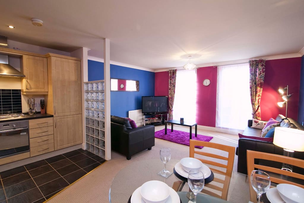 """Open plan kitchen, dining, lounge.  50"""" wide screen TV in lounge with Virgin Media TV"""