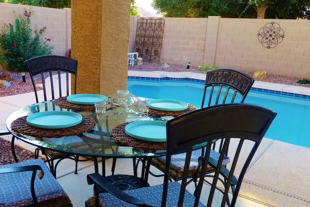 Covered Patio to Relax, Unwind, and enjoy the peaceful Private setting.