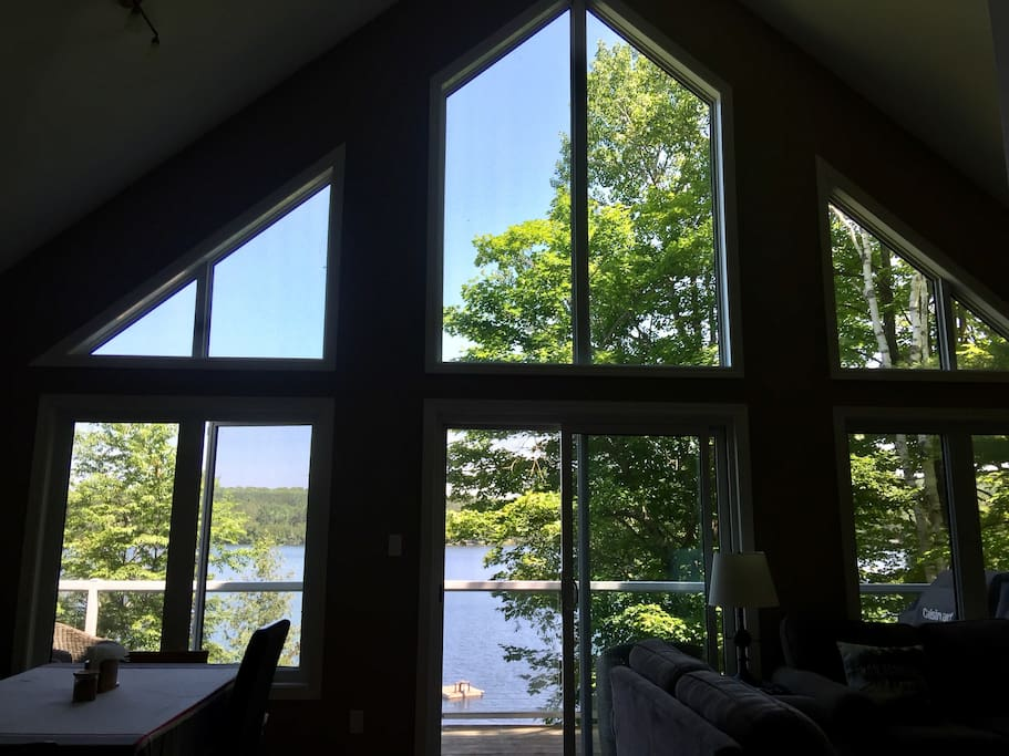 Lake view from inside vaulted windows