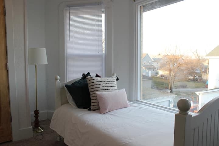 Sunny and cozy twin bed