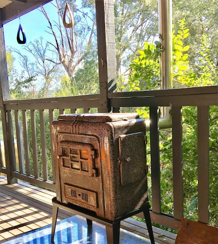 Beautiful little Warmray wood heater makes the deck a perfect spot to sit back and relax for a while.