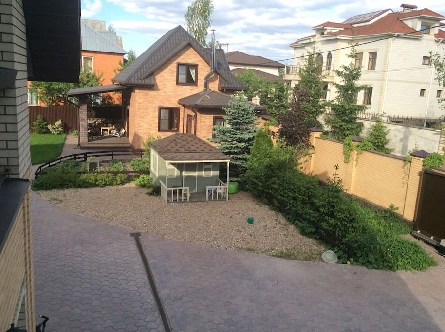 Appaarance of the house (view from the balkony of the big house). Small wooden house is for children