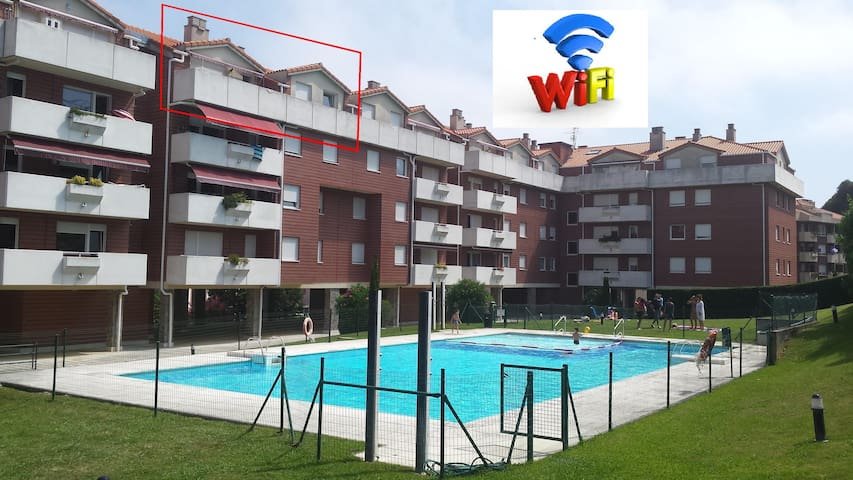 Apartment 100m2 with terrace & pool. Free WIFI