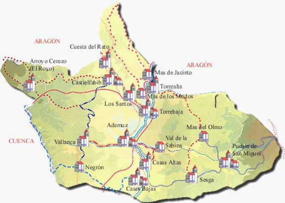 Mapa del Rincon de Ademuz