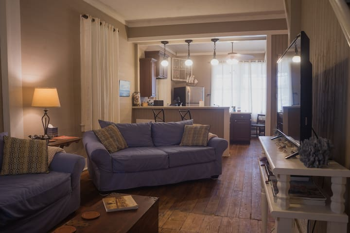 Living area.  There are two sofas which open into beds: one queen size and one full size.  A tv with an AppleTV (Netflix, Hulu, etc.) and YouTube LiveTV is in this space.