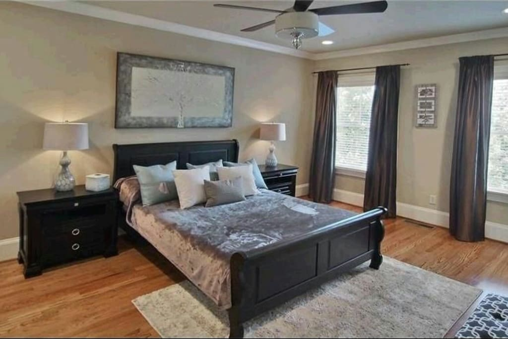 Master one has city views and jetted tub with large walk-in shower with body jets