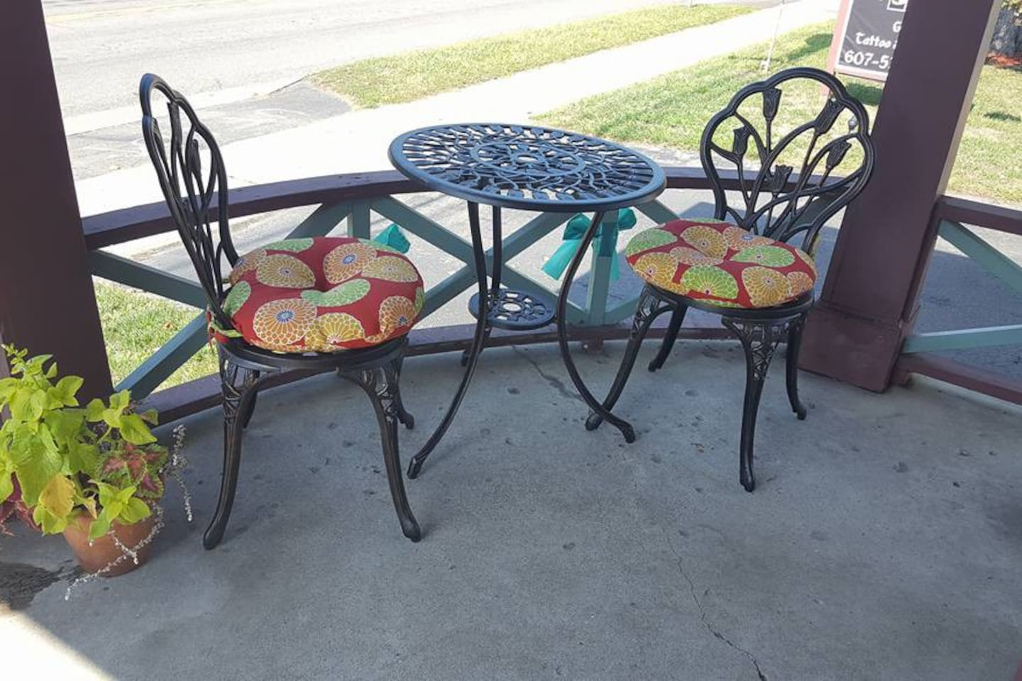 Our main building front porch cafe table