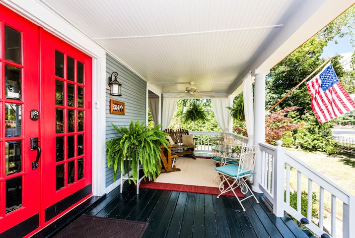 Relax and unwind on the covered front porch that offers a space to enjoy breakfast, reading or a chilled beverage.