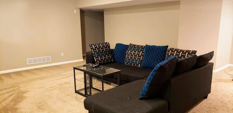 2ba/1ba basement with a livingroom & fireplace!