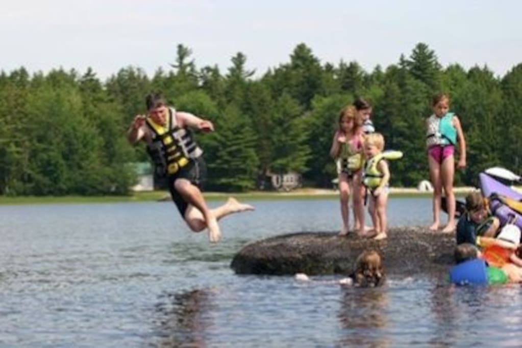 """Kids of """"all"""" ages on """"jumping rock"""""""