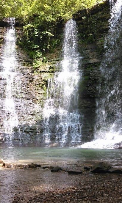 Visit the Beautiful Twin Falls in nearby Jasper!
