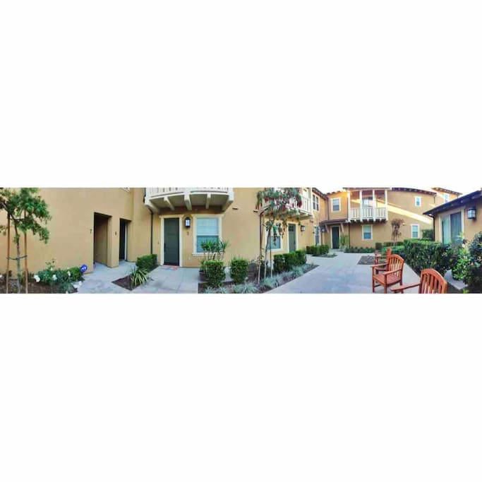 Indoor courtyard where the unit is located with benches for outdoor seating/lounging!