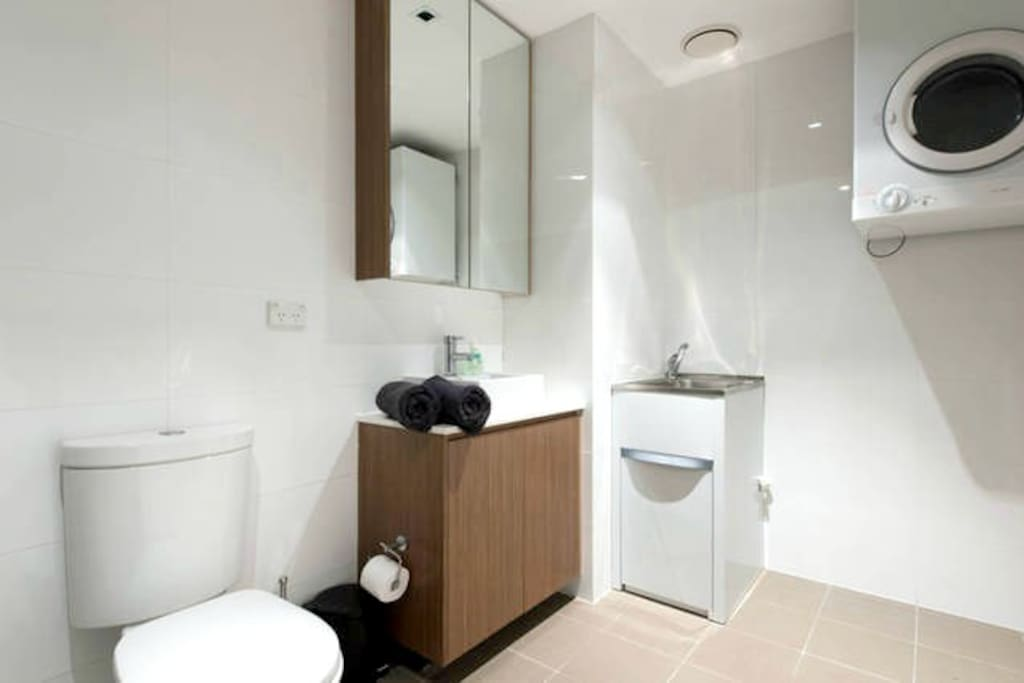 Modern and clean bathroom  Please note dryer is not currently available