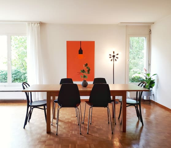 3,5 rooms, large, garden, long-term stay