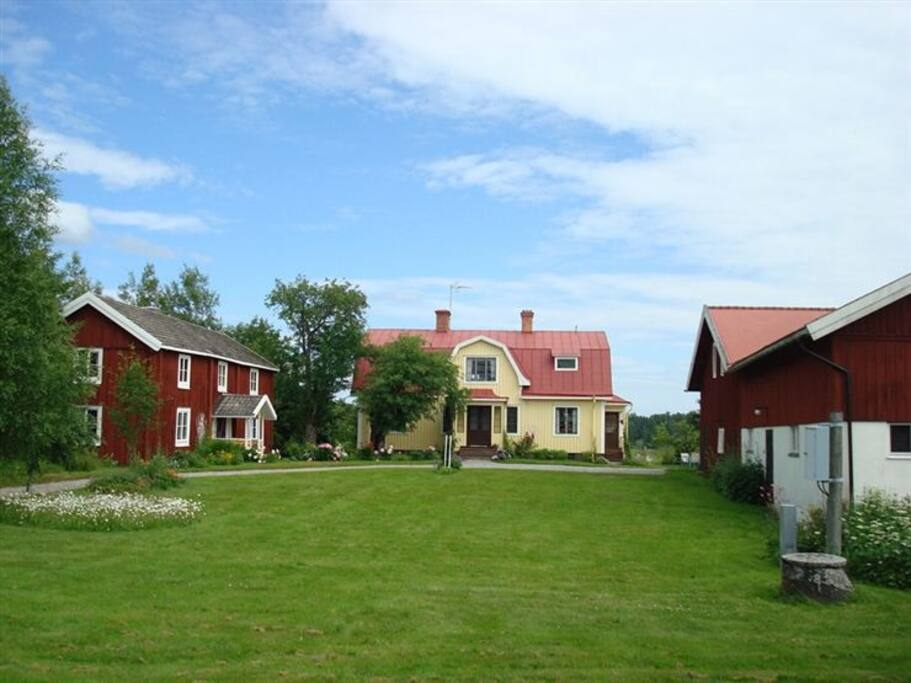 The main house and the house for rent. To the right is the barn and hen pen house.