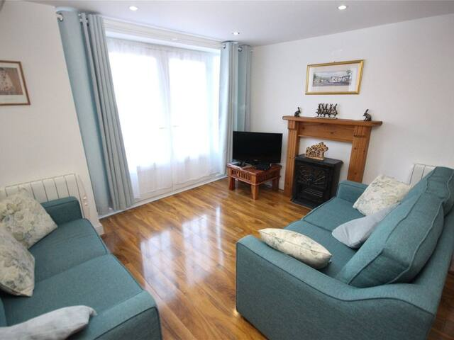 Lounge area with 2 double sofa beds and cosy fire.