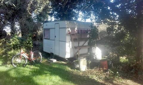 Small Caravan, trees, calm, simplicity