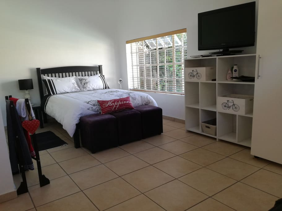 Double bed, TV, DSTV, DVD, storage