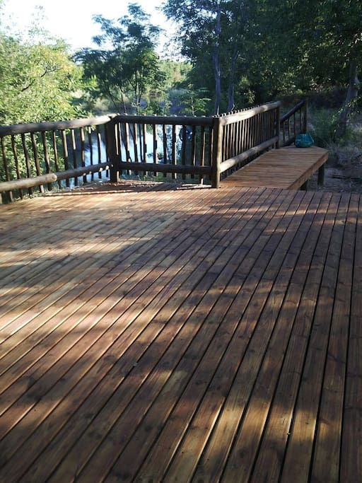 The deck is 3 km from the house
