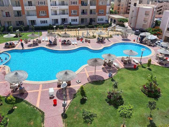 shaleh with private garden & public swimming pool