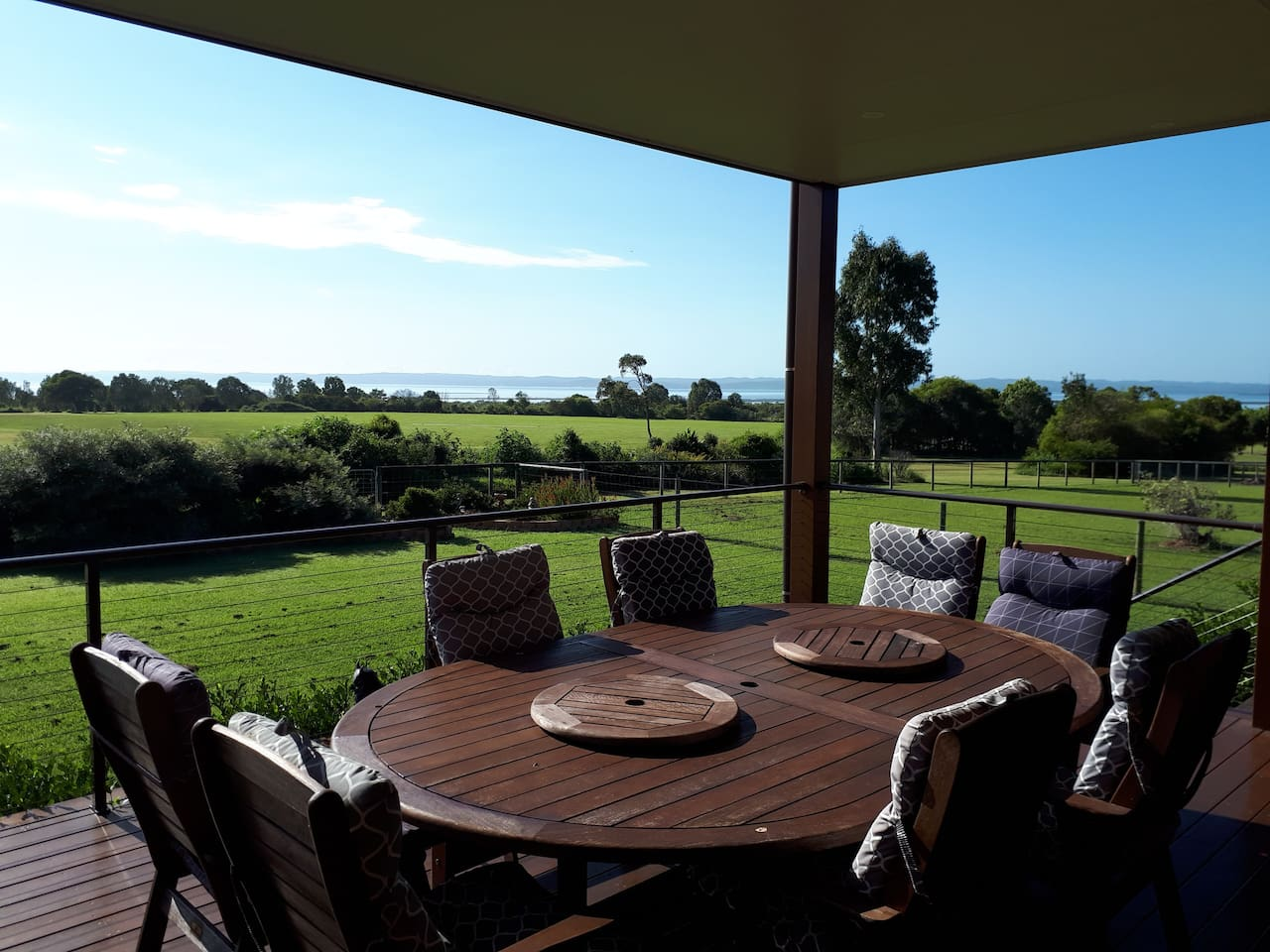 Enjoy Breakfast on the deck overlooking  River Heads Reserve and onto Fraser Island.