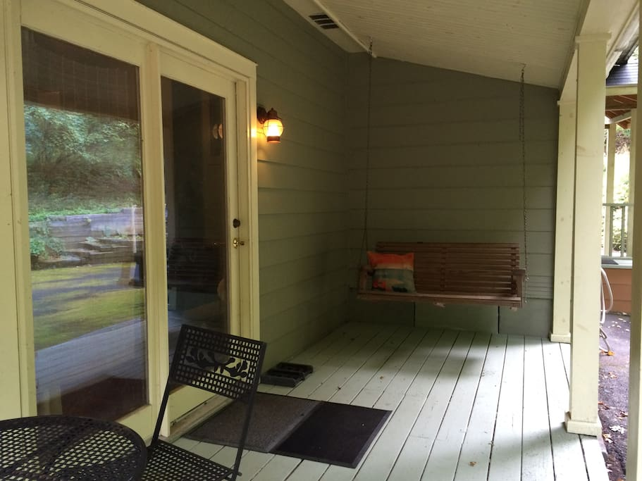 Back porch off family room.