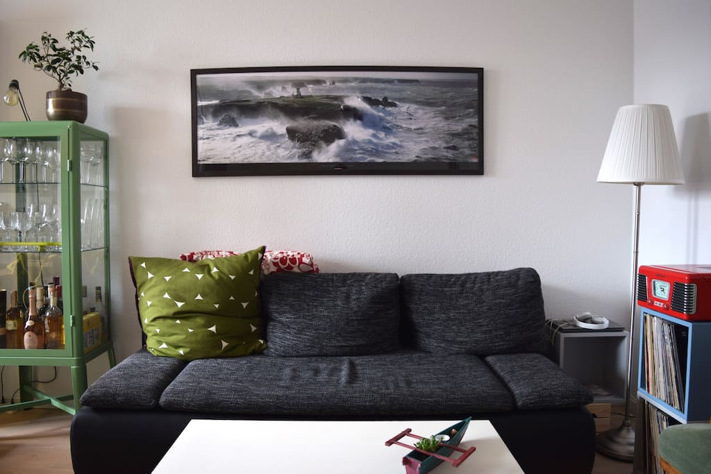 living room with couch & TV