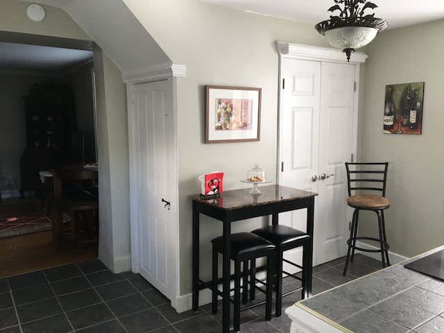 Kitchen leading into living room