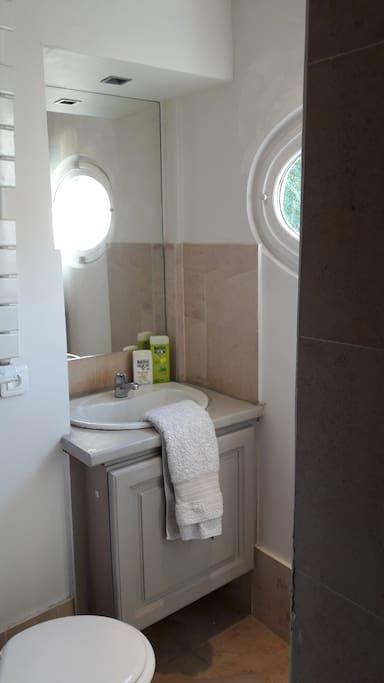 Salle de bains avec douche à l'italienne et wc