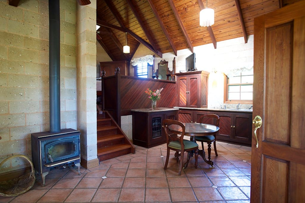 Fireplace, kitchen, dining