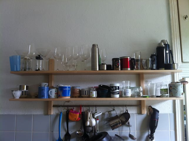 glasses and cups in the kitchen