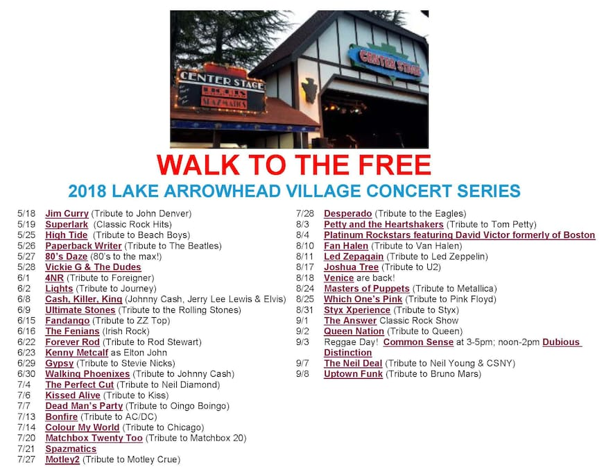 Walk the Short 5 Minute Stroll to the FREE 2018 Lake Arrowhead Village Concert Series