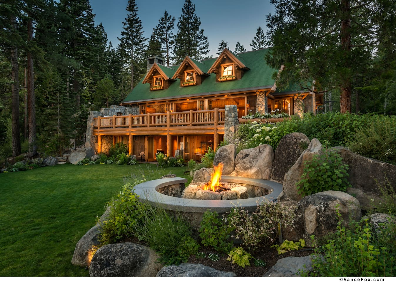 Firepit and View of House from Lake