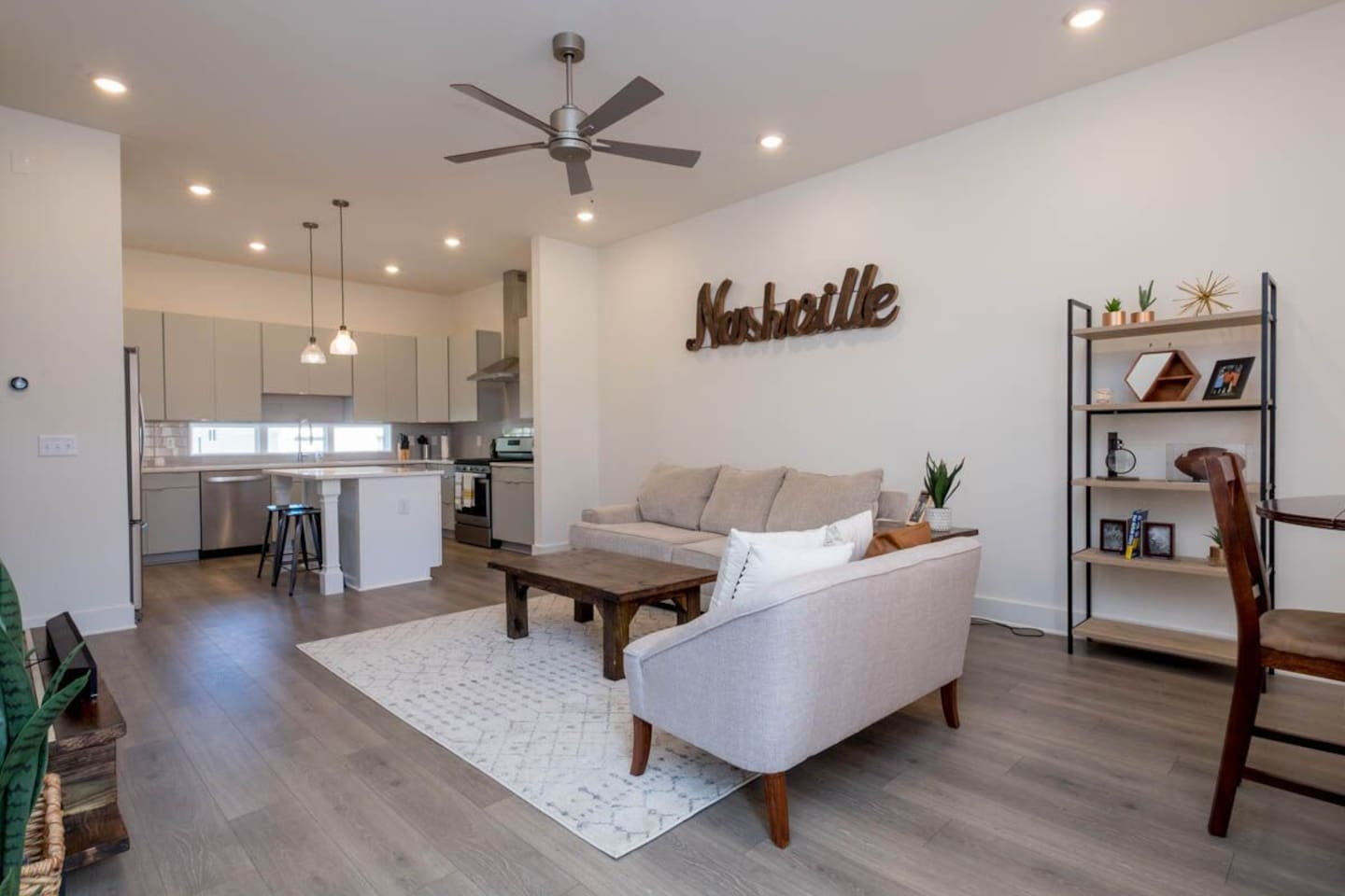 You'll be able to hang out and relax in the spacious living room. Whether you're looking to watch a movie and relax after a long day in Nashville or eat dinner and socialize, the living room is designed to accommodate everything needed for a trip to Nashville.