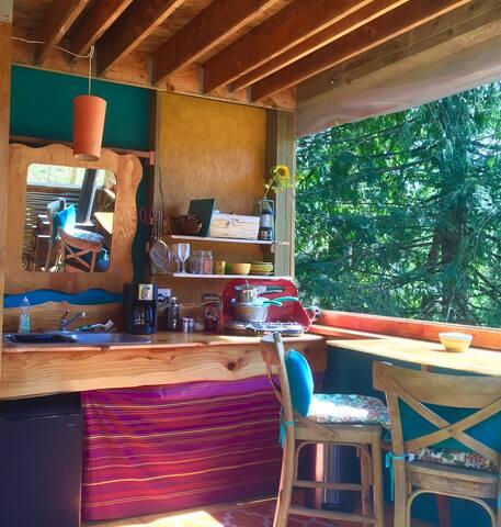Open air kitchen.