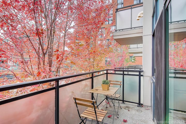 Balcony/Patio right next to kitchen with a beautiful view of maple leaf tree