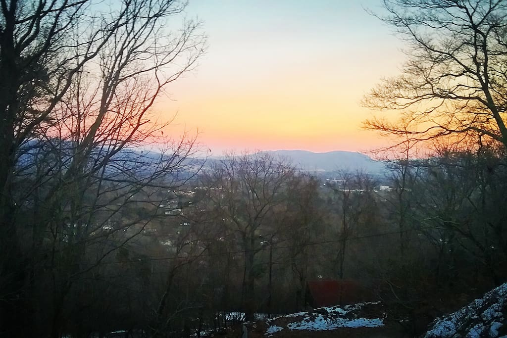 East facing sunrise view of the city and French Broad River valley