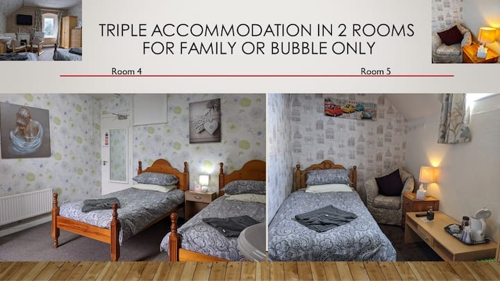 Triple accommodation in 2 rooms. 3 single beds.