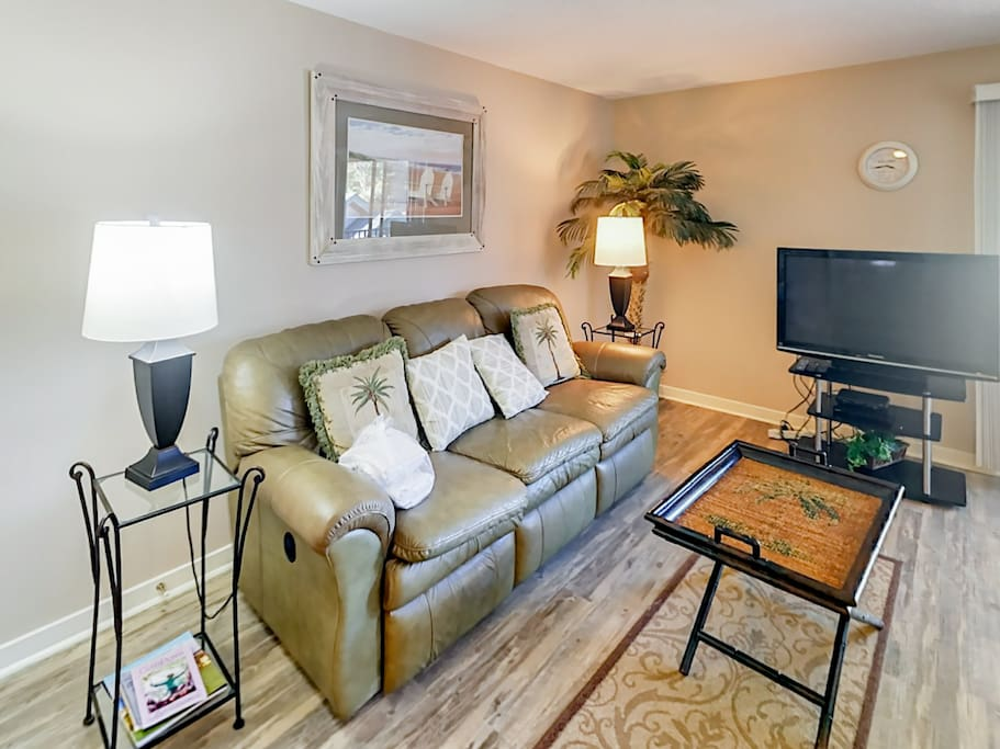 Host a movie night on the flat screen TV in the living room. Complimentary Wi-Fi is provided.