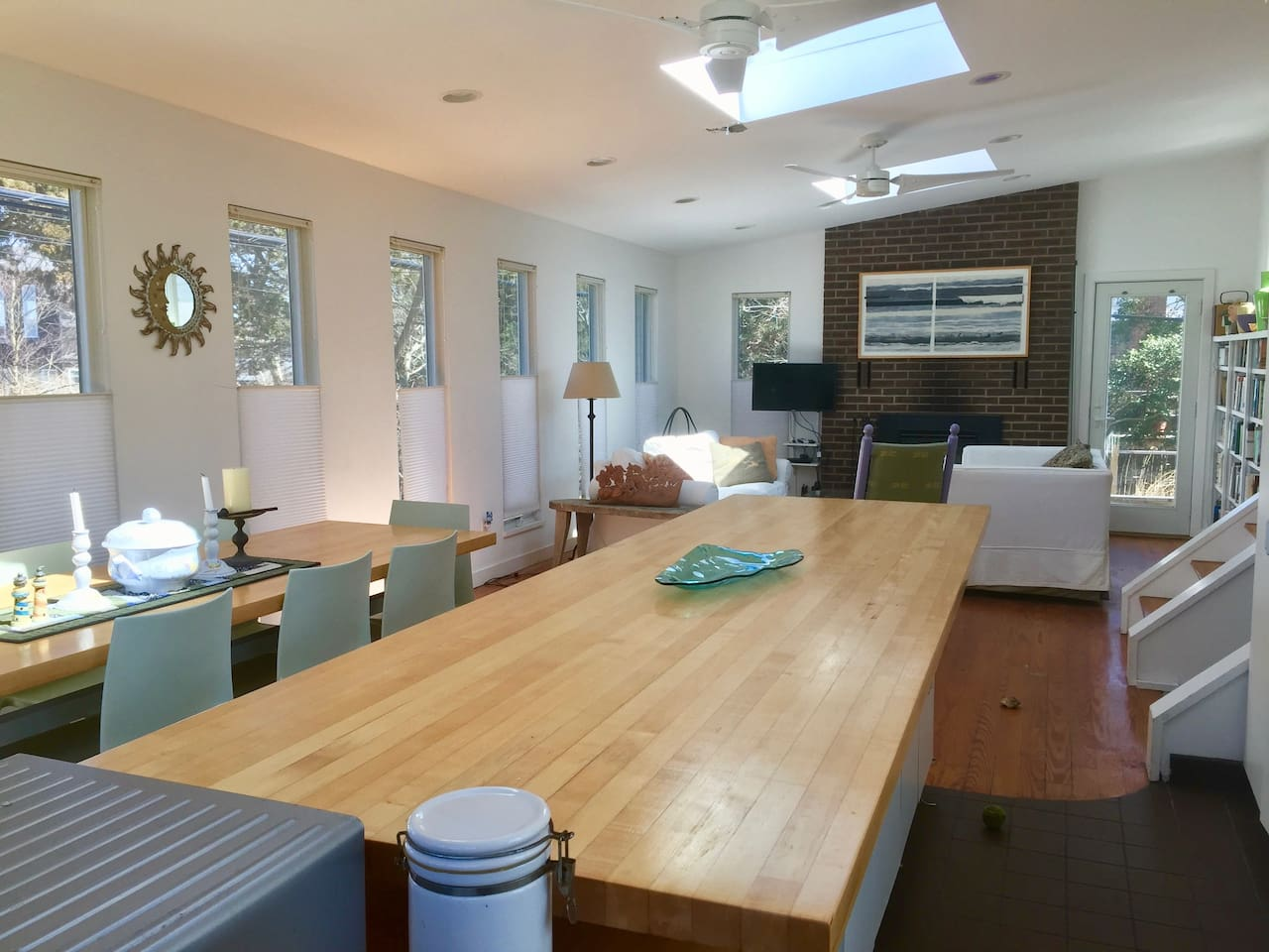Main level family room, overlooking kitchen island