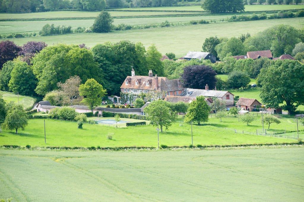 looking down on Knighton Manor